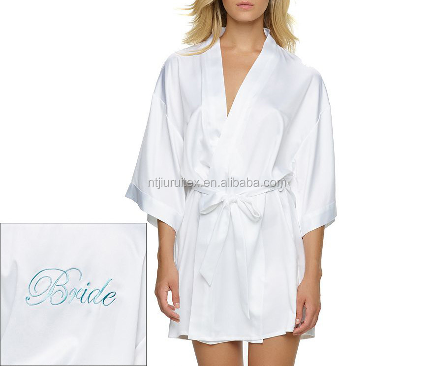 cheap bridal satin robe