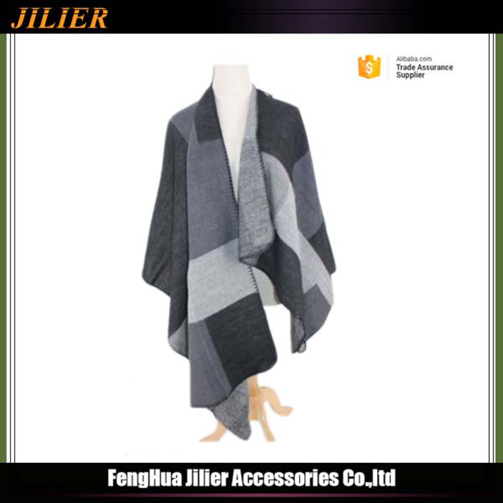 Winter Fashion jacquard plaid print big size 100%acrylic scarves,women pashmina shawl