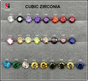 Full Fancy Color of Color Chart Colored CZ Gems Loose Round Cubic Zirconia Rough For Waxing