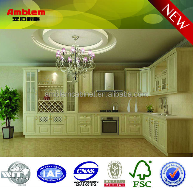 modern matt PVC modular kitchen cabinet design