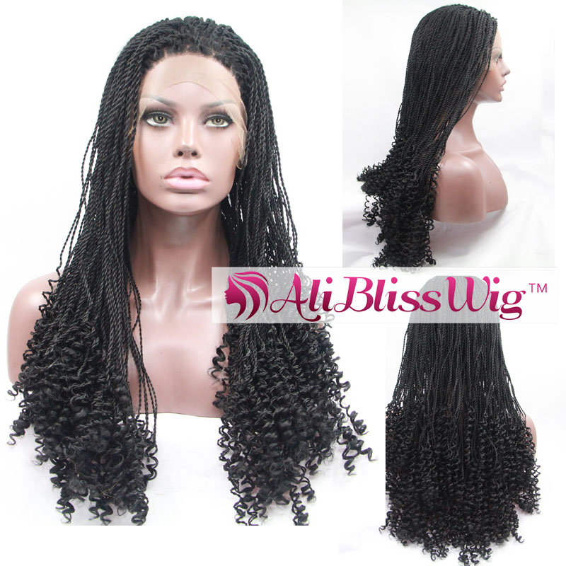 Cheap Heat Resistant Fiber Hair Fully Handed Black Dreadlock African Braided Curly Synthetic Lace Front Wig for Black Women
