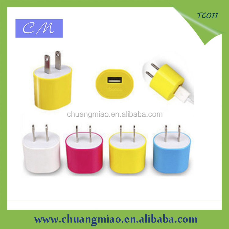 Oval shaped 1 usb wall charger for mobile phone charger with output full 5V1A