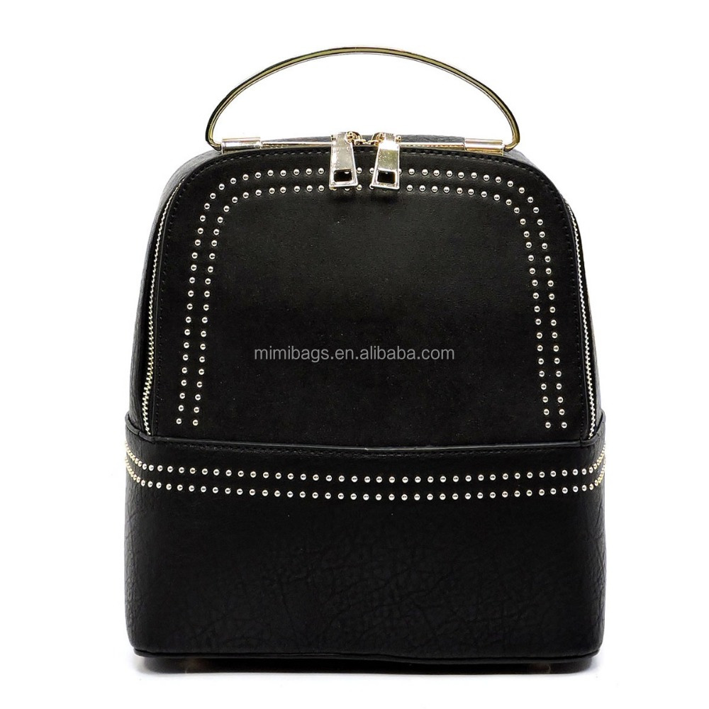Richmilan---OEM Guangzhou supplier PU packs Micro Studded Round Top Handle Backpack bags for women