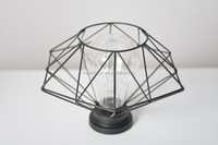 12A213 LED CANDLE HOLDER/ NET SHAPE METAL STAND/CANDLE HOLDER WITH GLASS PIPE/BLACK METAL CANDLE HOLDER