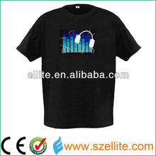 2017 year hot sale light up music activated panel t shirt led display