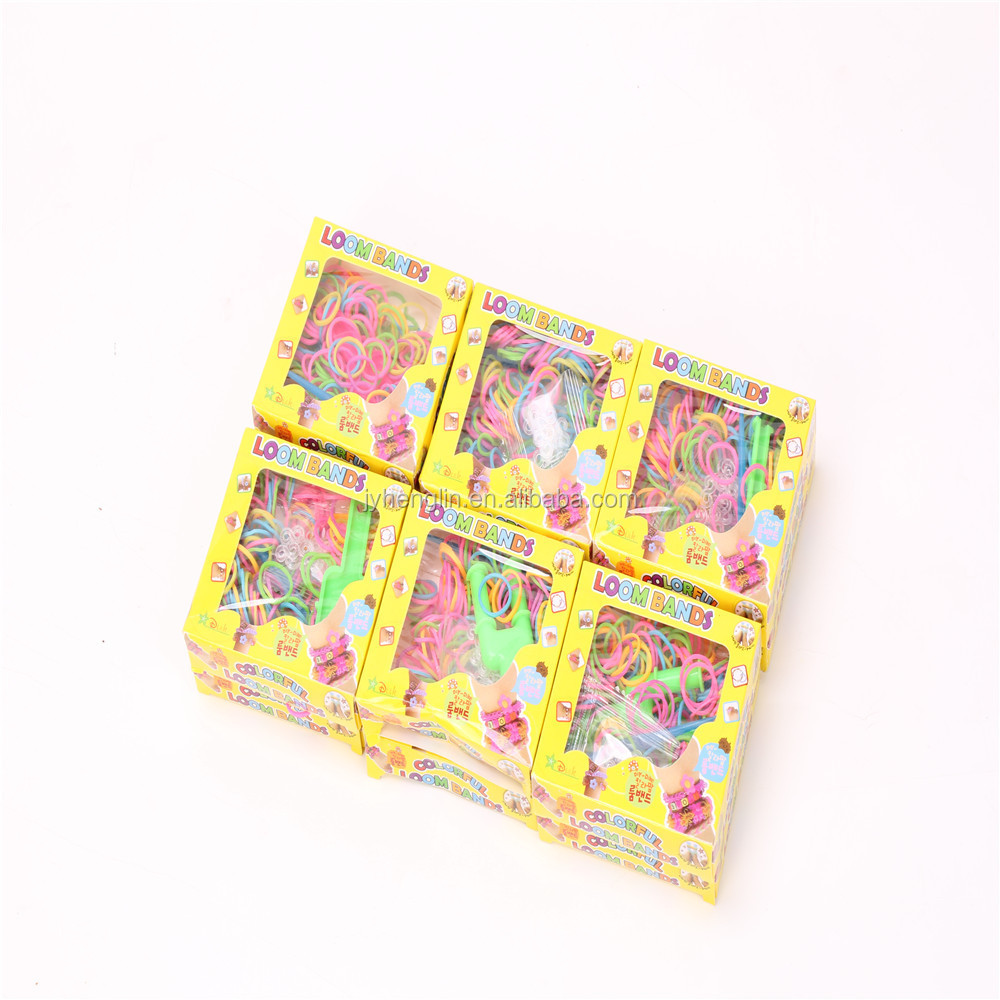 loom rubber band for DIY weave bracelet colorful loom bands sets paper box for Christmas gift