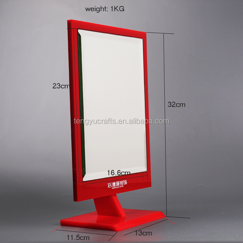 cheap table top acrylic display stand cosmetic jewelry glass store counter mirrors