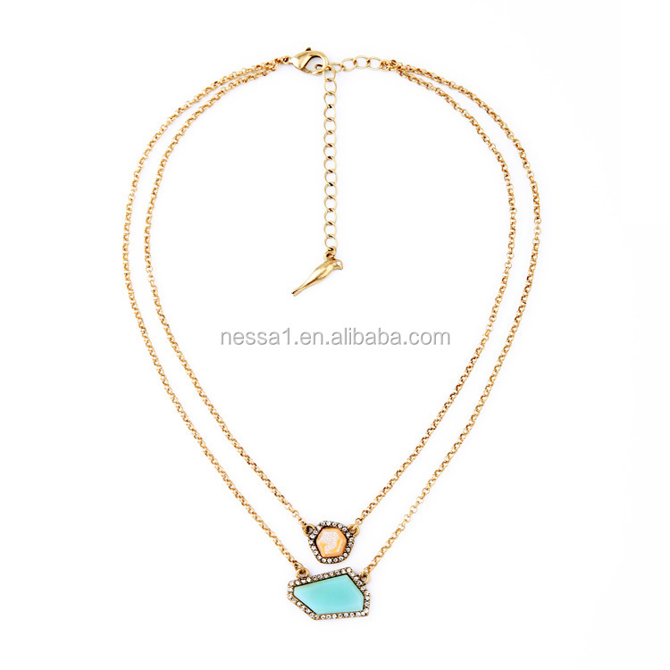 Fashion gold chain blue stone necklace wholesales SJ-109