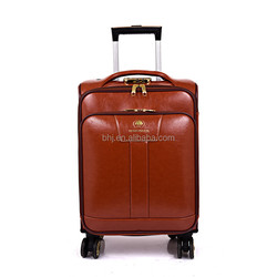 hot demand carry-on pu leather luggage with 360 degree wheel for traveling