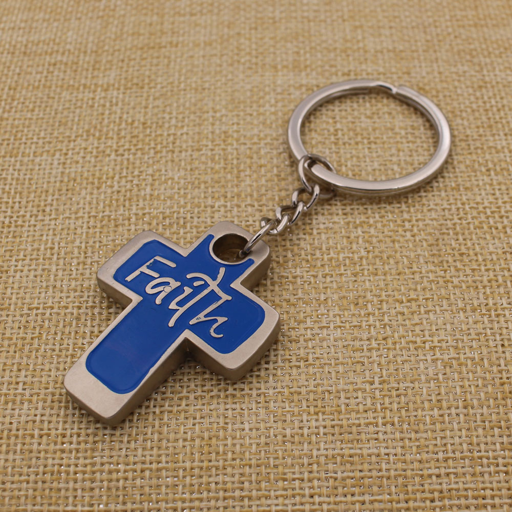 China good price metal color filled cross keychain marvel key chain with embossed logo