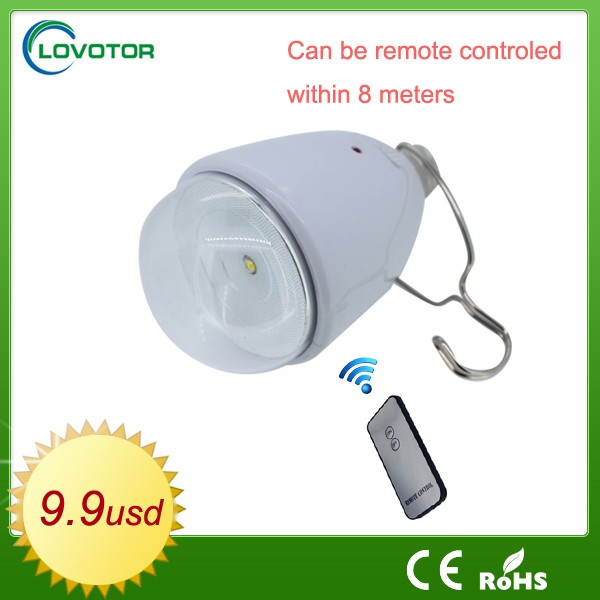 E27 Remote control LED bulb light energy saving Rechargeable Solar lighting kit with solar panel