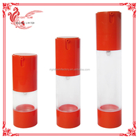 bottle airless red cap cosmetic airless bottles for cosmetic with pump