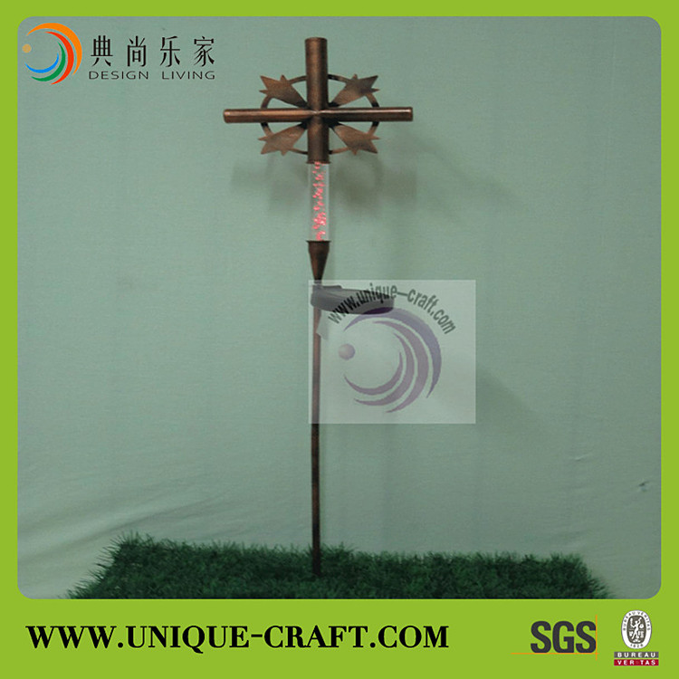 High quality outdoor metal windmill solar light wholesale garden stakes