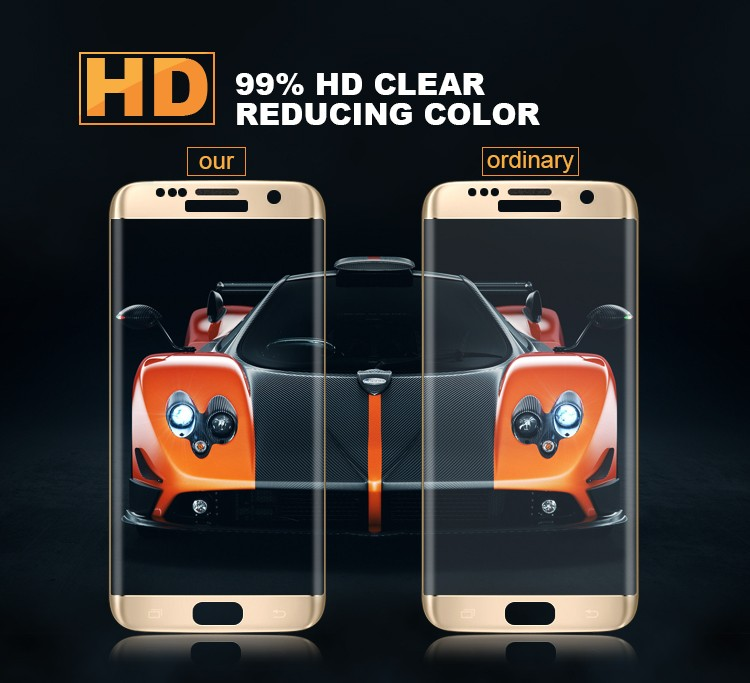 9H 2.5D Full Coverage Curved Screen Protector for Samsung Galaxy S7 Edge 0.3mm Thickness 3D Curved Tempered Glass
