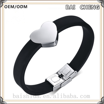 Wholesale unisex stainless steel bracelet Silicone leather bracelet