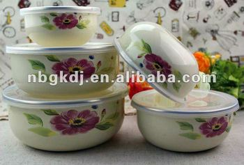 fashional enamel bowl sets with PP lid