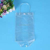 eco-friendly transparent shopping bag by machine for cosmetic gift cheap clear PVC shopping bag