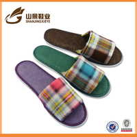 fashionable soft terry fabric slipper open toe eva floor slipper