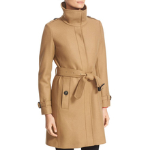 garment manufacturer classic womens outerwear with modern cinched belts waist cuffs funnel collar long trench coat