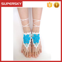 V-1000 wedding barefoot sandals handmade crochet dancing leg chain ankle bracelet indian foot jewelry