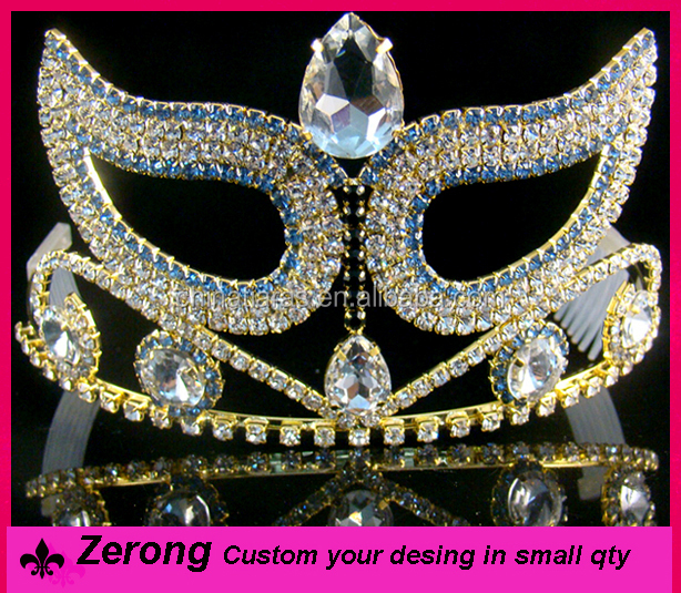 Wholesale mask tall pageant crown gold plating blue diamond pageant tiara crown