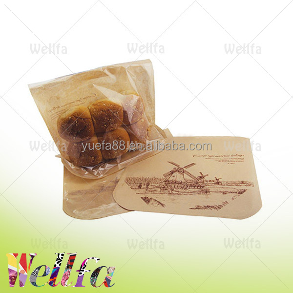 BPA free brown kraft paper laminated plastic bread bag with transparent window