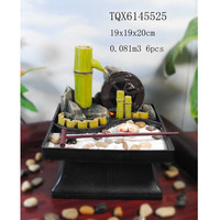 Resin Mini Zen Garden Water Fountain with Bamboo and Wheel
