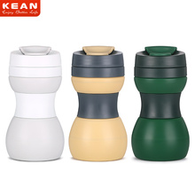 China Manufacturer Promotion Portable Leakproof Silicone Foldable Travel Mug with Lid
