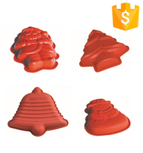 Customed Package OEM Bakeware Cake Tools food grade silicone christmas tree cake mould , christmas silicone baking mould