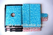 Two-fold Leather function furlike leopard pattern and magnetic stand smart cover case for ipad