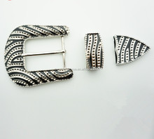 Wholesale 3 Pieces silver Western Belt Buckle Set with engraved design