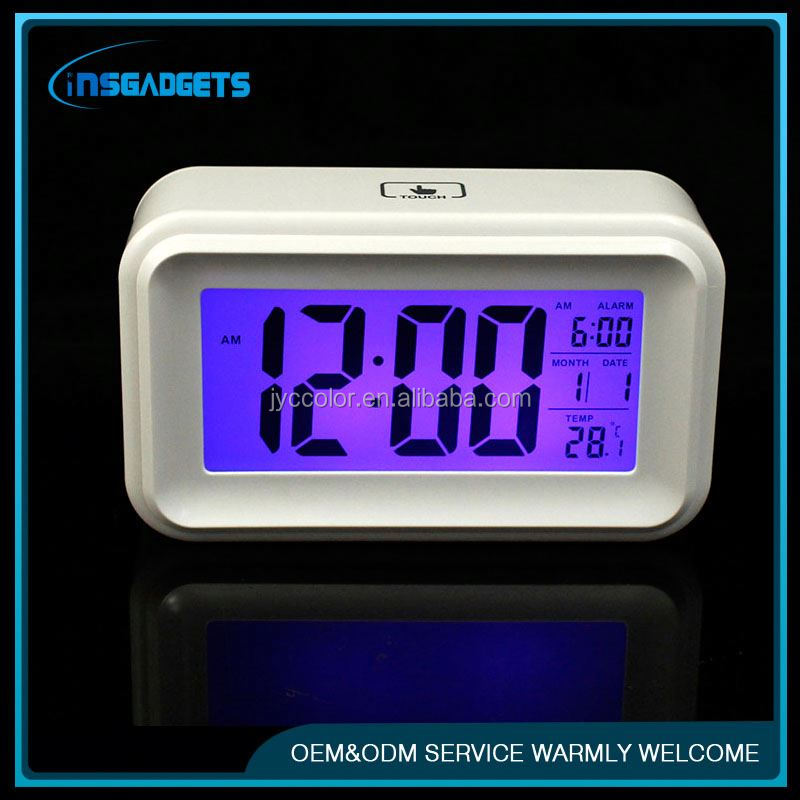 Lcd display alarm clock ,H0T039 touch screen alarm clock for sale
