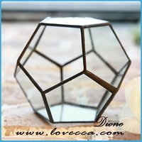 oval cutting glass terrarium geometric mini house glass cube terrarium