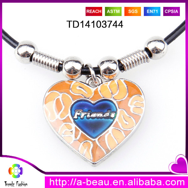 2014 Unique Best Friend Heart Shape Color Changing Mood Pendant Leather Necklace For Birthday Gifts