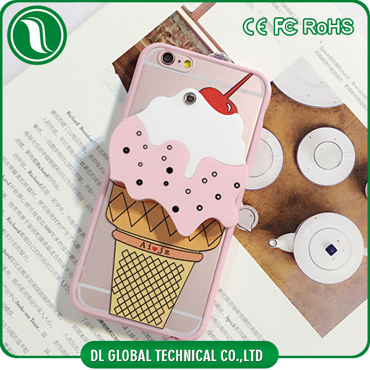 hot for 3d iphone cases 3D Cute ice cream phone case for iphone 6 with mirror back DLPCS80