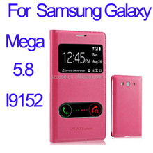 PU leather case cover for Samsung Galaxy Mega 5.8 i9152 smart phone window case for i9152