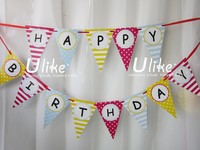 2015 new fashion hotsale handmade wholesale cheap custom fabric letters craft party supply kid decor felt happy birthday banner