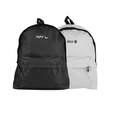 1BP0205 Good Quality Stylish Korean Style Embroidery Letter Cute Canvas Cool Black And White Fashion Backpacks For Teenage Guys