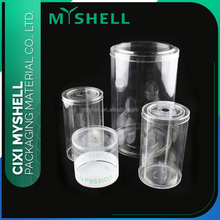 Clear plastic cylinder packaging box with lid
