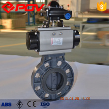 PVC plastic butterfly valves with pneumatic actuator