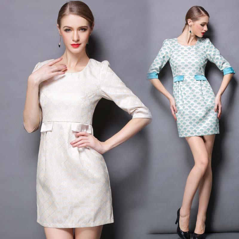 WAT1151 hot selling zipper autumn and winter office dress for mature lady