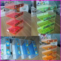 China Supplier USB Car Charger Display Spinning 4 Compartments Warehouse Acrylic Phone Accessory Rack Holder