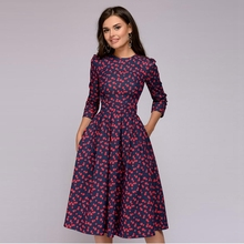Women Elegant A-line <strong>Dress</strong> 2019 Vintage printing <strong>party</strong> Three Quarter Sleeve women Slim Summer <strong>Dress</strong>