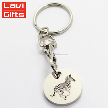Wholesale High Quality Cheap Metal Custom Zinc Alloy Trolley Coin Key Chain