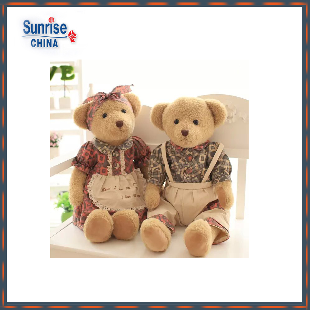 wholesale 65cm customized brown plush dressed sweetheart teddy bear with matched printed T-shirt, skirt, apron, rompers
