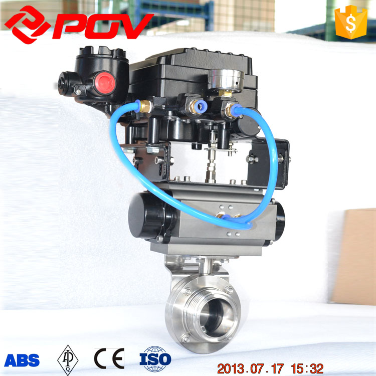 sanitary regulating type pneumatic butterfly valve with positioner