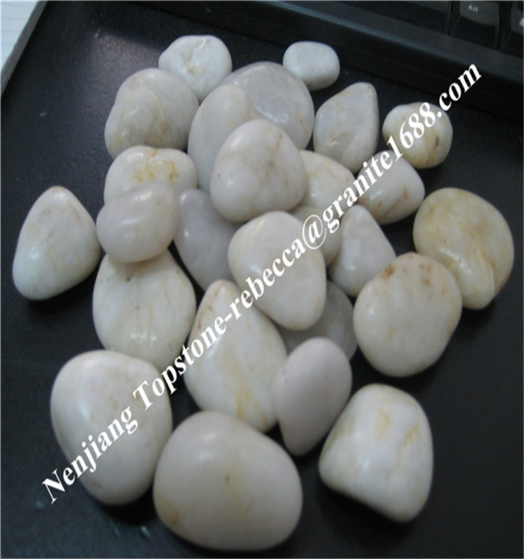 Natural stone indonesia white polished pebble stone cheap