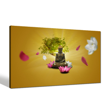 Religion Buddha Canvas Art/ Lotus Flower Canvas Print for Living Room /Lucky Tree Wall Art Office Decor