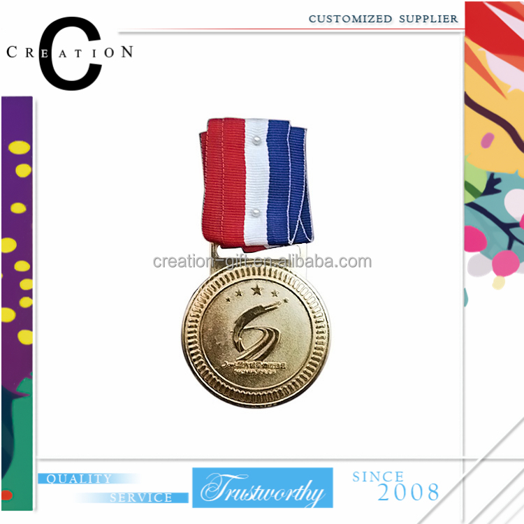 Standard Three Red White Blue Ribbon Lanyard Medal With Logo Celebrate Company Custom Order Medallio