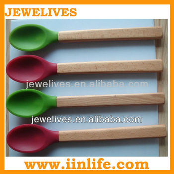 2013 new silicone dessert spoon with wodden handle